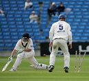 Gerard Brophy is bowled around his legs by Gary Keedy