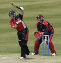 Richard Grant drives one-handed, Glamorgan v Somerset, C&G Trophy, Swansea, June 4, 2006