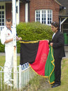 The Afghanistan flag is raised at the Royal Military Academy, Sandhurst, June 14, 2006