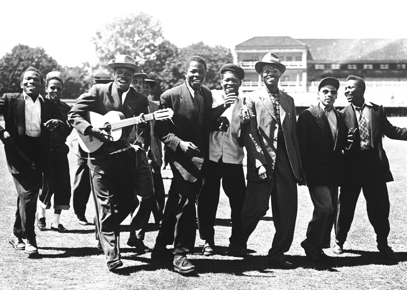 West Indian supporters, led by Lord Kitchener (with guitar), celebrate victory at Lord's, 1950
