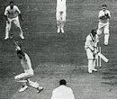 Peter Loader celebrates dismissing Roy Glichrist to secure his hat-trick, England v West Indies, Leeds, 1957