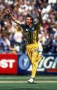 Anthony Stuart celebrates his hat-trick, Australia v Pakistan, Carton and United Series, Melbourne, January 16, 1997