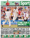 The front page of <I>The Sunday Telegraph</I> following England's win over Pakistan at Old Trafford, July 30, 2006