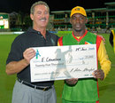 Man of the Match Esuan Crandon collects his $25,000 cheque from Allen Stanford, Guyana v Jamaica, Stanford 20/20, July 29, 2006