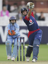 Laura Newton punches with a flourish of the bat, England Women v India Women, 1st ODI, Lord's, August 14, 2006