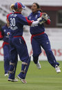Isa Guha celebrates with Sarah Taylor after dismissing Hemlata Kata , England Women v India Women, 1st ODI, Lord's, August 14, 2006