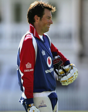 Marcus Trescothick waits for his turn in the nets ahead of the fourth one-dayer against Pakistan tomorrow, Trent Bridge, September 7, 2006