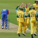 Brett Lee is congratulated after bowling Mark Johnson second ball, Australia v USA, 5th match, ICC Champions Trophy, Southampton, September 13, 2004