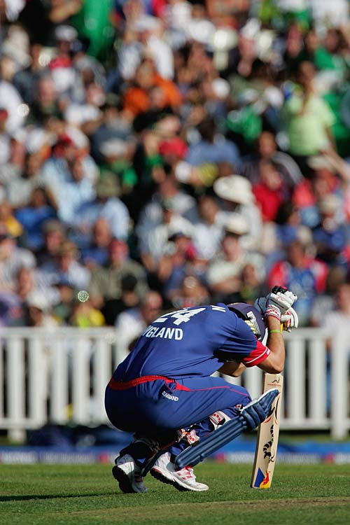 Kevin Pietersen composes himself after being hit