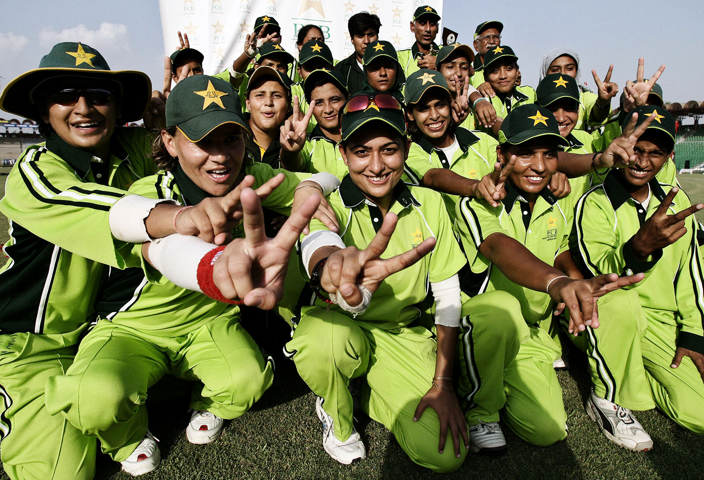 Pakistan celebrate a win over Hong Kong in Lahore, 2006