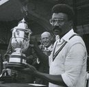 Clive Lloyd holds the World Cup after West Indies win in 1979