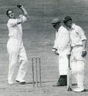 Chuck Fleetwood-Smith in action during Australia's 1938 tour of England