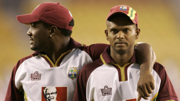 Brian Lara and Shivnarine Chanderpaul troop off after a net session