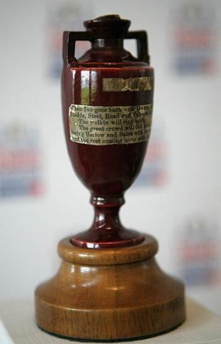 The original Ashes urn displayed at Lord's, London, October 9, 2006