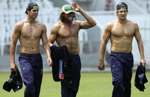Australia's 18 pack: Mitchell Johnson, Andrew Symonds and Shane Watson,