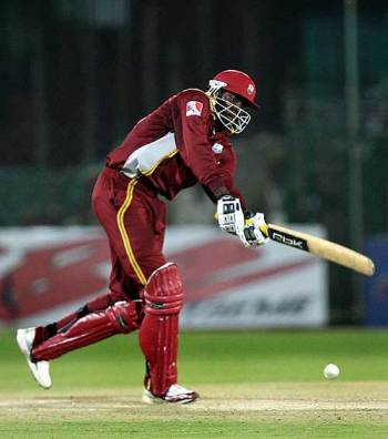 Chris Gayle works the ball through the leg side, West Indies v Bangladesh, Champions Trophy, Jaipur, October 11, 2006