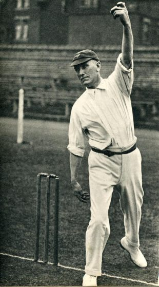 Wilfred Rhodes near the end of his career in 1928