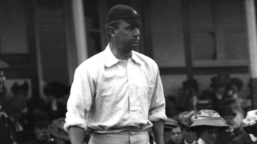 Monty Noble walks out to bat at The Oval