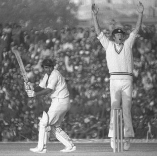 Tony Greig appeals in vain for the wicket of Sunil Gavaskar, India v England, 2nd Test, Calcutta, January 3, 1977