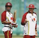 Marlon Samuels and Bennett King during practice, RCA Academy, Jaipur, October 31, 2006