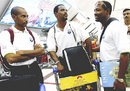 Ian Bradshaw, Runako Morton and Brian Lara wait for their luggage at Chattrapati Shivaji Airport ahead of the ICC Champions Trophy final against Australia, Mumbai, November 3, 2006