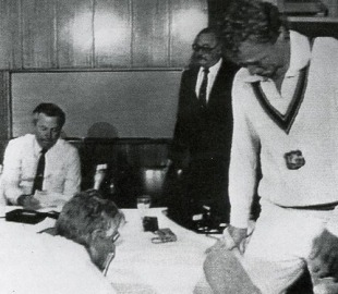 A tearful Kim Hughes walks out of a media conference after announcing his resignation as captain, Brisbane, November 26, 1984