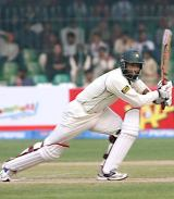 Mohammad Yousuf eases into a drive during his century, Pakistan v West Indies, 1st Test, Lahore, 2nd day, November 12, 2006
