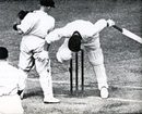 Stan Worthington topples onto his stumps after pulling Chuck Fleetwood-Smith, Australia v England, MCG, 5th Test,  March 7, 1937