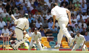 Steve Harmison's first ball heads for second slip, Australia v England, 1st Test, Brisbane, November 23, 2006