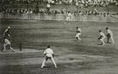 Jack Ikin 'catches' Don Bradman in one of the Ashes' most controversial moments. The umpire ruled Bradman not out, to the dismay of the fielders, Australia v England, 1st Test, Brisbane, November 29, 1946