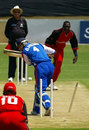 David Hemp is bowled by Henry Osinde, Bermuda v Canada, 4th match, ICC Tri-Series, Benoni, November 30, 2006