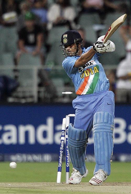 Sachin Tendulkar chops one on