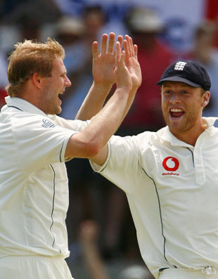 Matthew Hoggard and Andrew Flintoff celebrate another wicket, Australia v England, 2nd Test, Adelaide, December 3, 2006