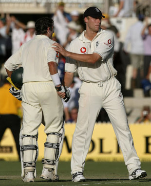 Andrew Flintoff congratulates Michael Hussey after Australia's remarkable win, Australia v England, 2nd Test, Adelaide, December 5, 2006