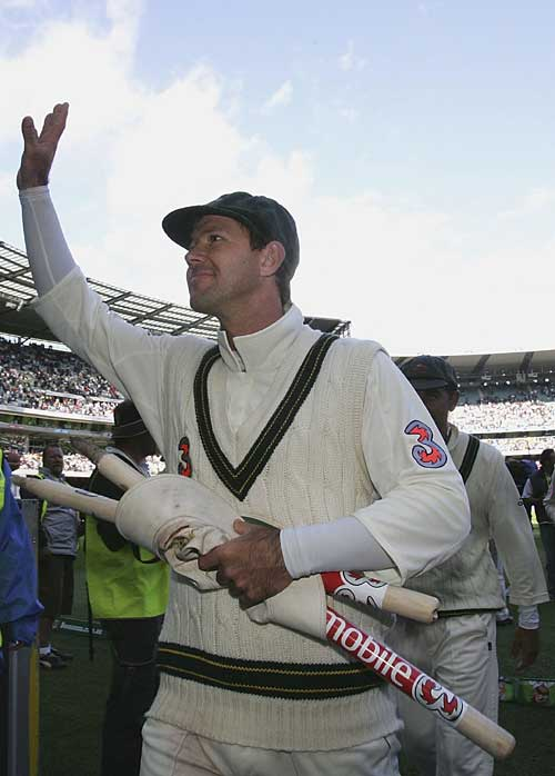 Ricky Ponting waves to the Australian supporters