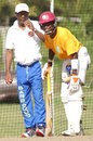 Seymour Nurse oversees Fidel Edwards in the nets at Barbados's Yorkshire Sports Club, Barbados, December 31, 2006