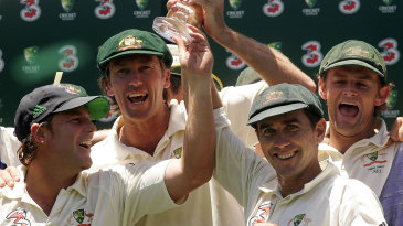 Shane Warne, Glenn McGrath, Justin Langer and Adam Gilchrist with the Ashes trophy after Australia secured a 5-0 whitewash