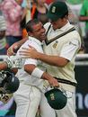 Graeme Smith congratulates Ashwell Prince for a job well done, South Africa v India, 3rd Test, Cape Town, 5th day, January 6, 2007
