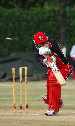 Sandeep Jyoti is bowled for a duck