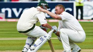 Brett Lee, Australia's Spirit of Cricket Ambassador, with Andrew Flintoff