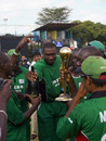 Roger Harper, the Kenya coach, samples the champagne, Kenya v Scotland, World Cricket League Final, Gymkhana, Nairobi, February 7, 2007