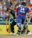 Adam Gilchrist whips the bails off to have Jamie Dalrymple run out