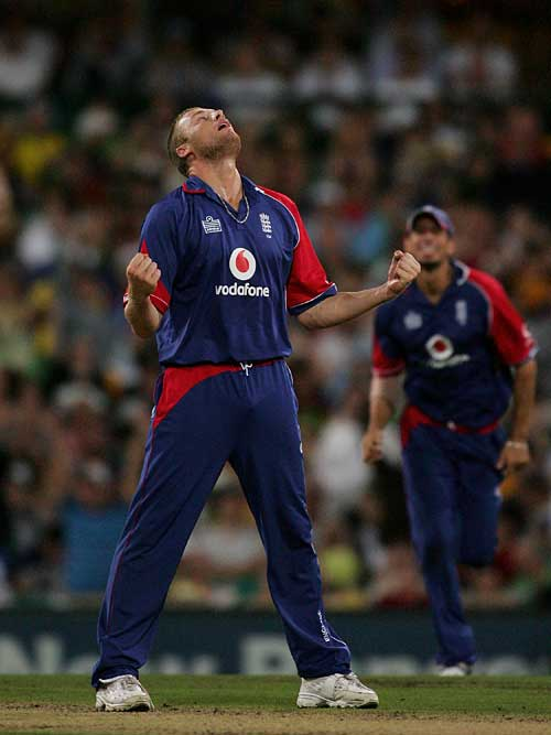 Andrew Flintoff looks to the heavens after Michael Hussey's wicket