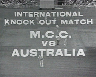 The opening credits of the first-ever one-day international, Australia v England, Melbourne, January 5, 1971