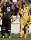 A dejected Glenn McGrath shakes hands with Peter Fulton, New Zealand v Australia, Chappell-Hadlee Trophy, 2nd match, Auckland, February 18, 2007