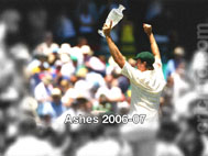 Glenn McGrath with the Ashes Trophy