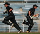 Maria Fahey and Helen Watson of New Zealand cross over for a single,New Zealand v India, ICC Quadrangular Tournament, Chennai, February 25, 2007