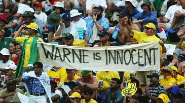 Australian fans support Shane Warne during Australia's first match of the World Cup
