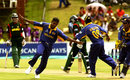 Chaminda Vaas celebrates his hat-trick off the first three balls of the match against Bangladesh, Sri Lanka v Bangladesh, 10th match, World Cup, Pietermaritzburg, February 14, 2003