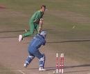 Craig Matthews bowls  Darren Gough, South Africa v England, Rawalpindi, February 25, 1996